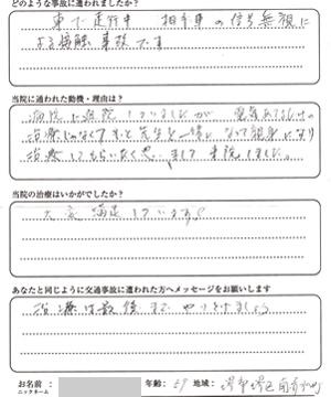 堺市堺区南清水町 M.Nさん 59歳 男性